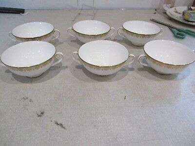 Royal Doulton Gold Lace 6 Coupe Bowls No Saucers Mint Condition.