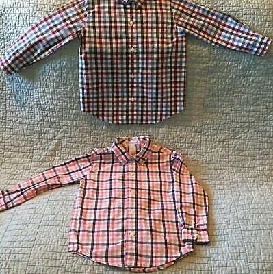 JANIE AND JACK Lot of 2 Boy BUTTON DOWN SHIRTS, Long Sleeve, Plaid Size 2T EUC