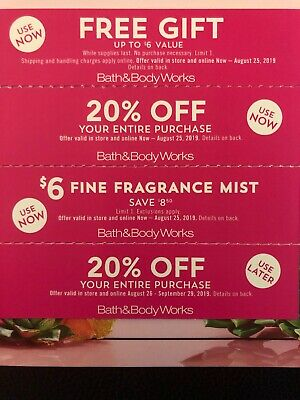 Bath & Body Works, Gift, 20% Off, $6 Fragrance Mist Coupons - Exp. 8/25/19