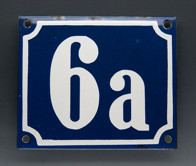 ALTE EMAIL EMAILLE HAUSNUMMER 6a in BLAU/WEISS um 1960