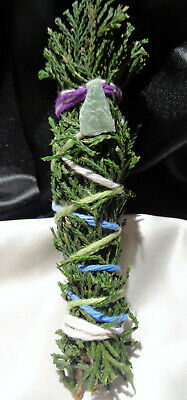 "Cedar Incense Smudge Stick, Priestess made & Blessed, 4-5"" + AVENTURINE Reiki"