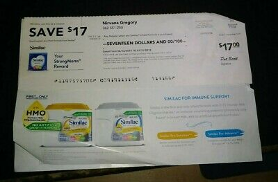 17.00 in similac checks/ coupons+infant formula discount off any purchase