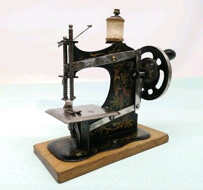 Antique Miniature Toy Sewing Machine German Tin Plate Salesman Sample early 1900