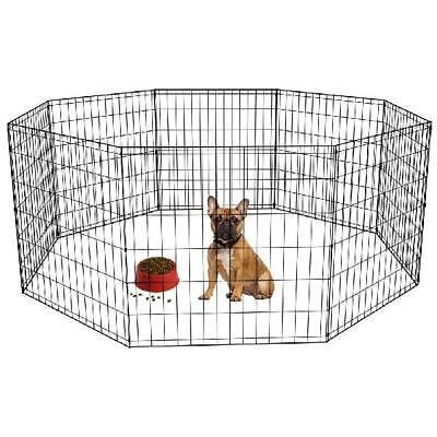 24-Black Tall Dog Playpen Crate Fence Pet Kennel Play Pen Exercise Cage -8 Panel