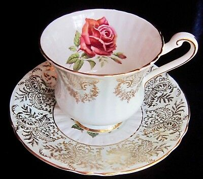 Paragon Bone China Tea Cup & Saucer - F68F - Red Rose & Gold & Mint Green