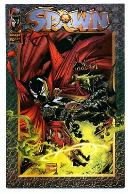 1)SPAWN #50(6/96)DBL.-SIZED(McFARLANE/CAPULLO)VIOLATOR/ANGELA(9.6)NM+(CGC IT)HOT