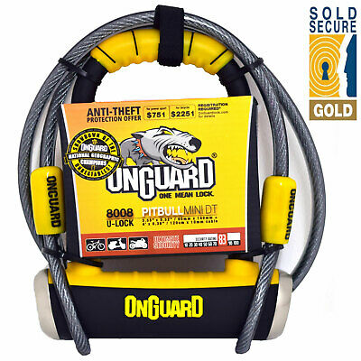 Onguard Pitbull Mini DT 8008 Motorcycle Scooter Lock & Cable
