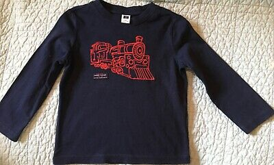 JANIE AND JACK / Classic Style Boy SHIRT, LS, Blue with Train Size 2T / EUC