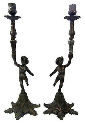 Cherub Cupid Candlestick Holders 30's Painted Spelter Mirror Image 38.5 cm