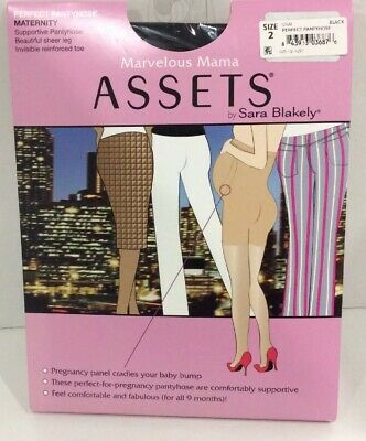 Assets Maternity Supportive Pantyhose Sz 2 Black Marvelous Mama Sara Blakely NEW