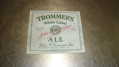1950s BEER LABEL, AMERICAN USA TROMMERS BREWERY ORANGE NEW JERSEY, WHITE ALE