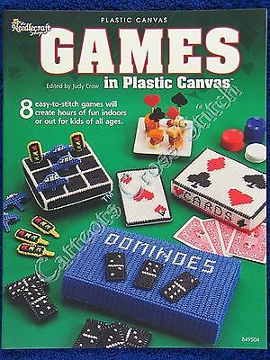 Plastic Canvas Pattern Games Dominoes 0s & Xs Darts Shape Sorter Face Cards