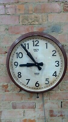 Huge Old Deco Industrial Metal Smiths Sectric Wall Clock Acelec Sydney Antique