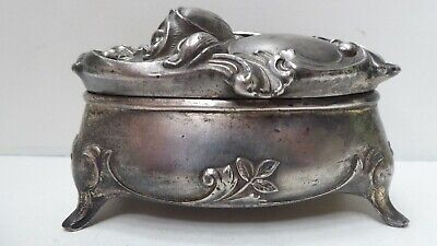 Antique Art Nouveau Trinket Jewellery Box Silver Plated Pewter Stamped J.b