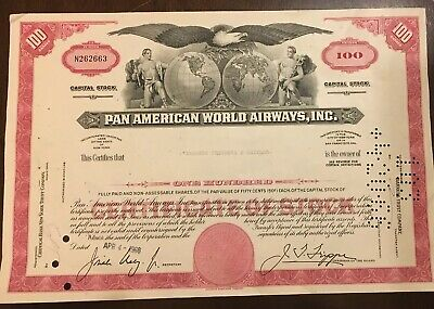 Pan American Airlines (Pan Am) 1966 Stock Certificate Aviation Collectible. N.Y.