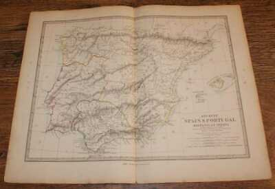 Map of Ancient Spain & Portugal (Hispania or Iberia) - disbound sheet from 1857