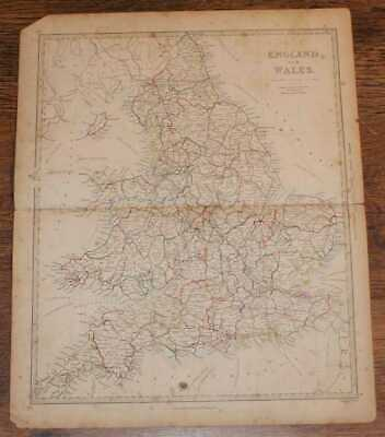 """Map of England and Wales - disbound sheet from 1857 """"University Atlas"""""""