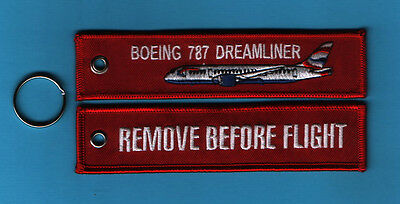 Boeing 787 Dreamliner Remove Before Flight Bordado Llavero / Mando / Etiqueta -