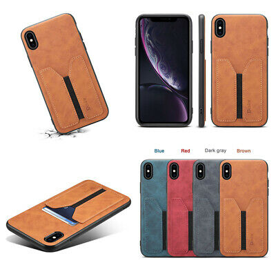 For i Phone XS Max XR 6 X 7 Shockproof Leather Protective Card Holder Cover Case
