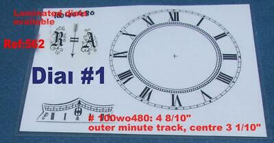 563small - Replacement Vienna Wall Clock Dial set 4 8/10th inch  123mm max od