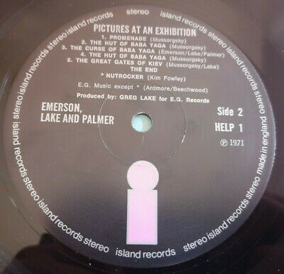 ELP Emerson Lake & Palmer LP Pictures at an UK Island 1st press A-1U B-1U