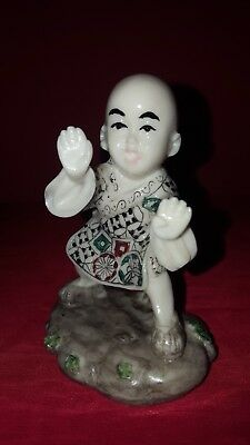 🥋vintage Resin Asian Ivory Coloured Figurine - Boy Doing Tai Chi-Signed