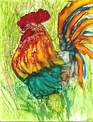 Rooster Abstract Alcohol Ink Art Painting Bird Chicken 8.5x11 Penny Lee StewArt