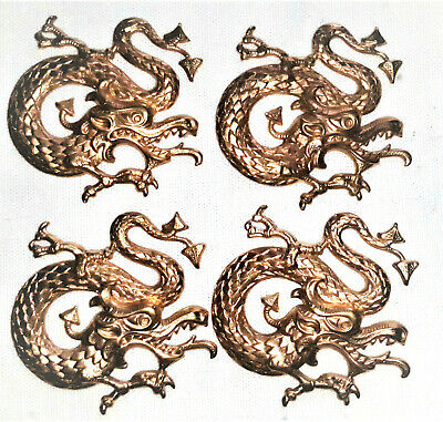4 Czech Vintage Raw Brass Stampings Dragons