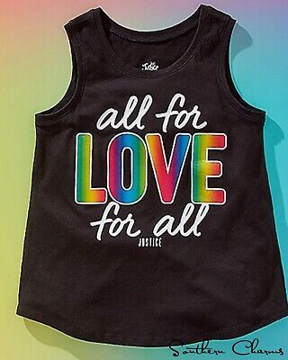 Justice Girl's Size 18-20 All For Love Foil Graphic Tank  NWT