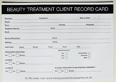 SALON - THERAPIST Beauty Treatment Client Record Card (100 pack) A5 Size