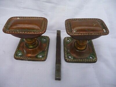 Antique Pair Victorian/Edwardian Copper/Brass Door Handles Knobs Square Plates