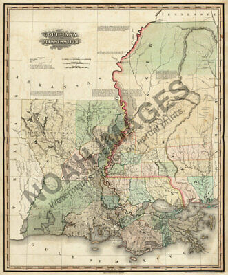 Map of Lousiana and Mississipii c1823 20x24