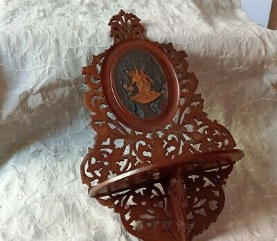 Antique Wooden Wall Shelf Carved Ornate Couple Dancing