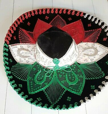 Authentic vintage Mexican Gonzalez sombrero, red, green, white sequins Mariachi.