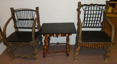 Fabulous 3 Piece Antique Set of REAL Adirondack Cabin Furniture Ca. 1910 WOW!