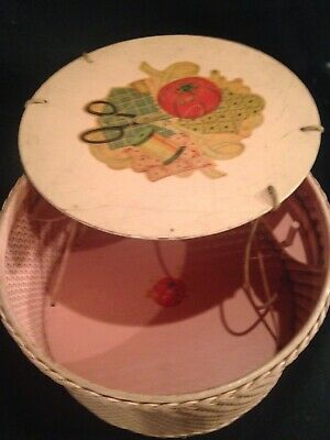 "Vintage 1940s Used Pink Wicker & Wood Round Floral Decal Sewing Basket Box 11"" D"