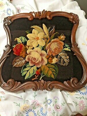 Beautiful Antique Victorian Plush Work Beadwork Tapestry Framed Panel Picture