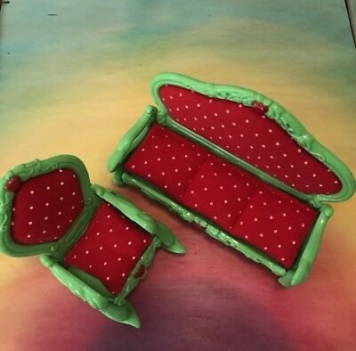 Strawberry Shortcake Furniture Living Room Deluxe Set Rare Two Pieces