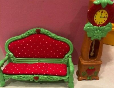 Strawberry Shortcake Furniture Living Room, Lounge And Grandfather Clock Vintage