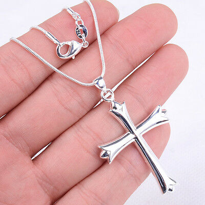 925 Sterling Silver Hypo-allergenic Holy Cross Pendant+Snake Chain Necklace H28