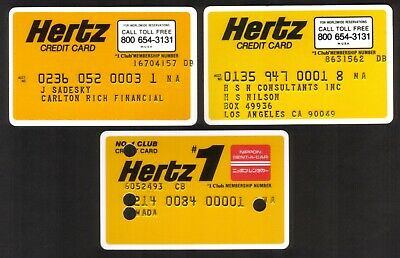 Hertz Car Rental Credit Cards. Group of 3 Including Voided One From Japan
