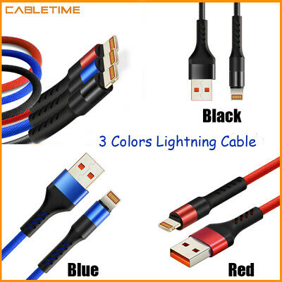 Cabletime Fast Charging USB Lightning Cable Cord for iPhone X  7 6S iPad Black