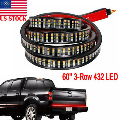 "60"" Triple Row LED Strip Tailgate Light Bar Reverse Brake Truck Signal Lights US"