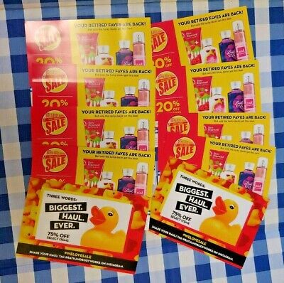 10 Bath & Body Works 20% OFF Online Coupons Exp 10/7/2019 NEW/ Not Used