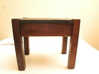 Antique Arts & Crafts Oak & Leather Footstool Stickley Style C 1900