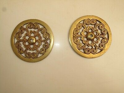 "Pair Antique Ornate Bass Curtain Tie Back Rosettes 3 5/8"" D Repros ?"