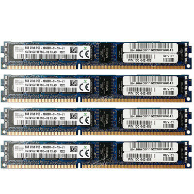 For Hynix 32GB 4x8GB PC3-10600R DDR3-1333MHz 240pin CL9 ECC RDIMM VLP Server RAM