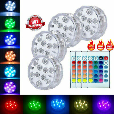 RGB Submersible LED Lights Waterproof Color Changing w/ Remote Battery Op AU