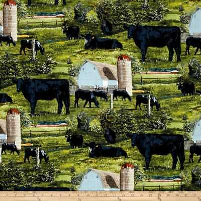 Black Angus Cow Animal  Farm Scenic Sewing Quilting Toss Cotton New FQ