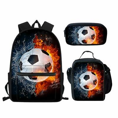 Ice Hockey Soccer Boys School Bags Lunchbox Pencil Case Men Laptop Rucksack Gift